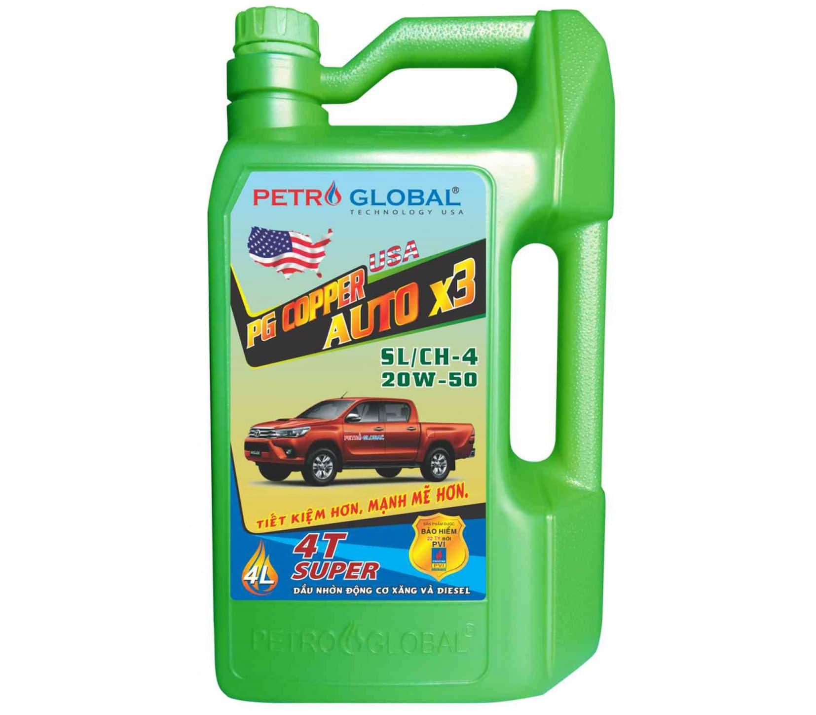 PG Copper Auto x3 API Sl/CH - 4, SAE 20W - 50 (chai 4L)