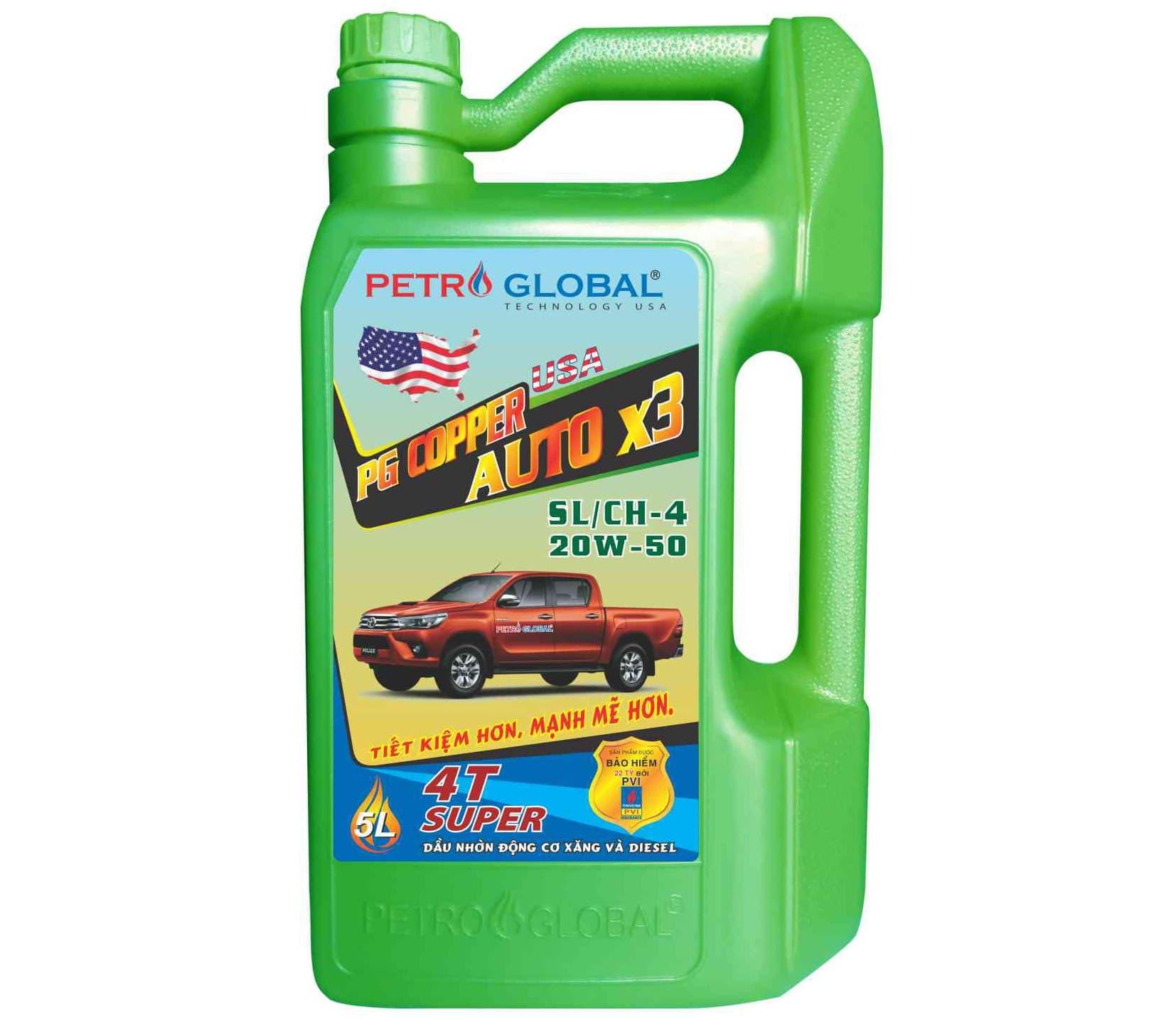 PG Copper Auto x3 API Sl/CH - 4, SAE 20W - 50 (chai 5L)